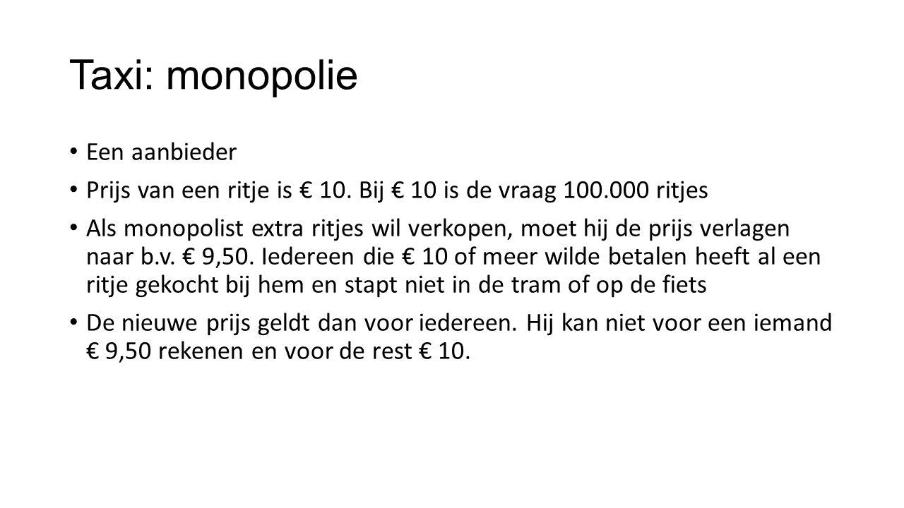 Taxi: monopolie Een aanbieder