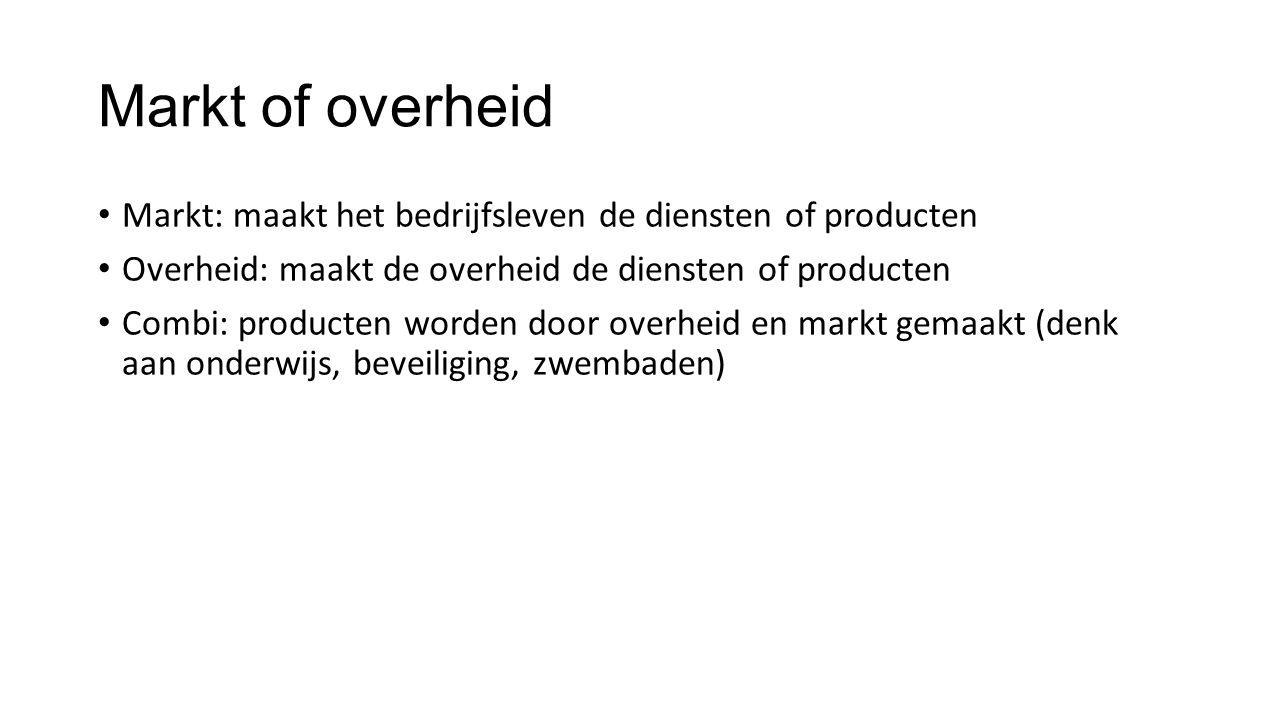 Markt of overheid Markt: maakt het bedrijfsleven de diensten of producten. Overheid: maakt de overheid de diensten of producten.