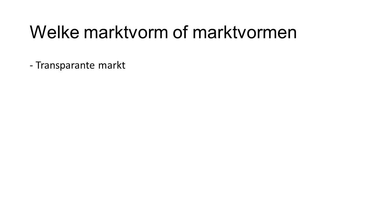 Welke marktvorm of marktvormen
