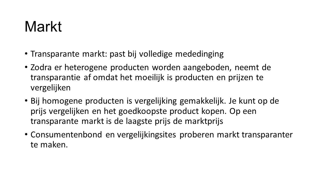 Markt Transparante markt: past bij volledige mededinging