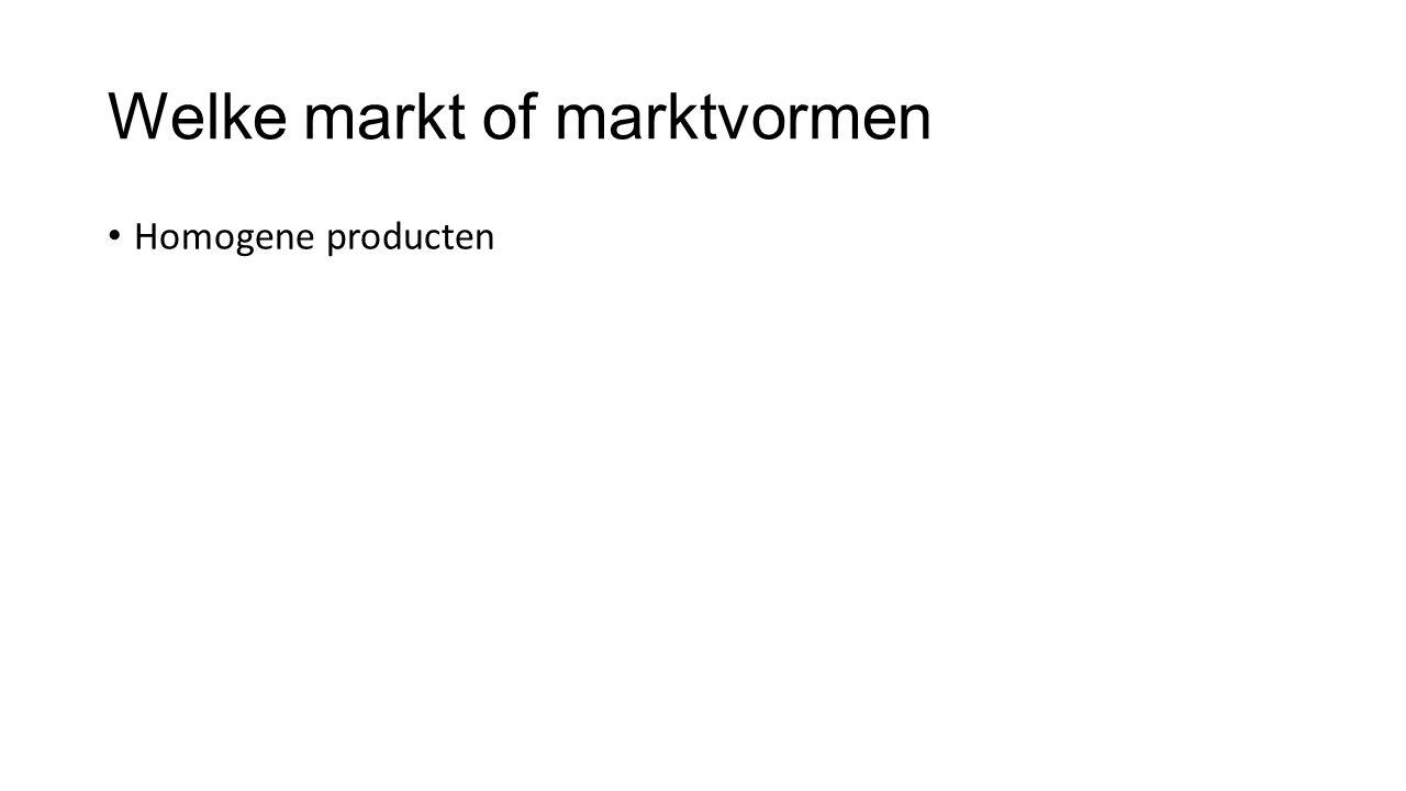 Welke markt of marktvormen