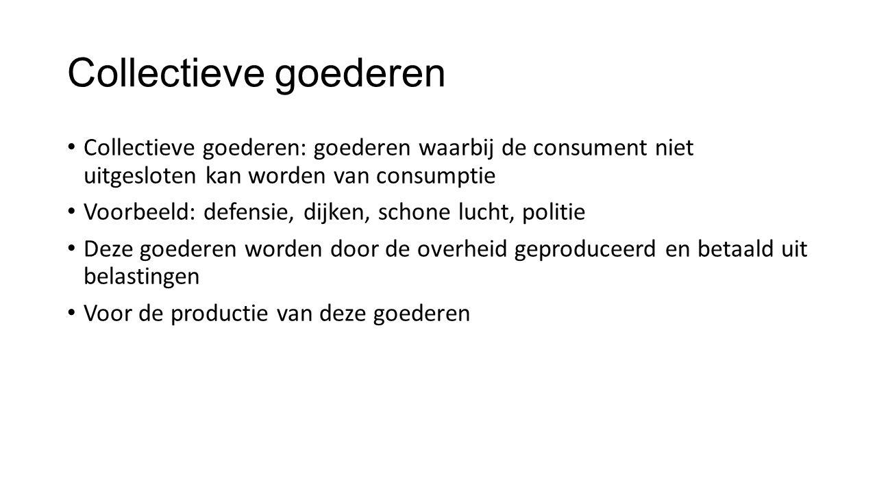 Collectieve goederen Collectieve goederen: goederen waarbij de consument niet uitgesloten kan worden van consumptie.