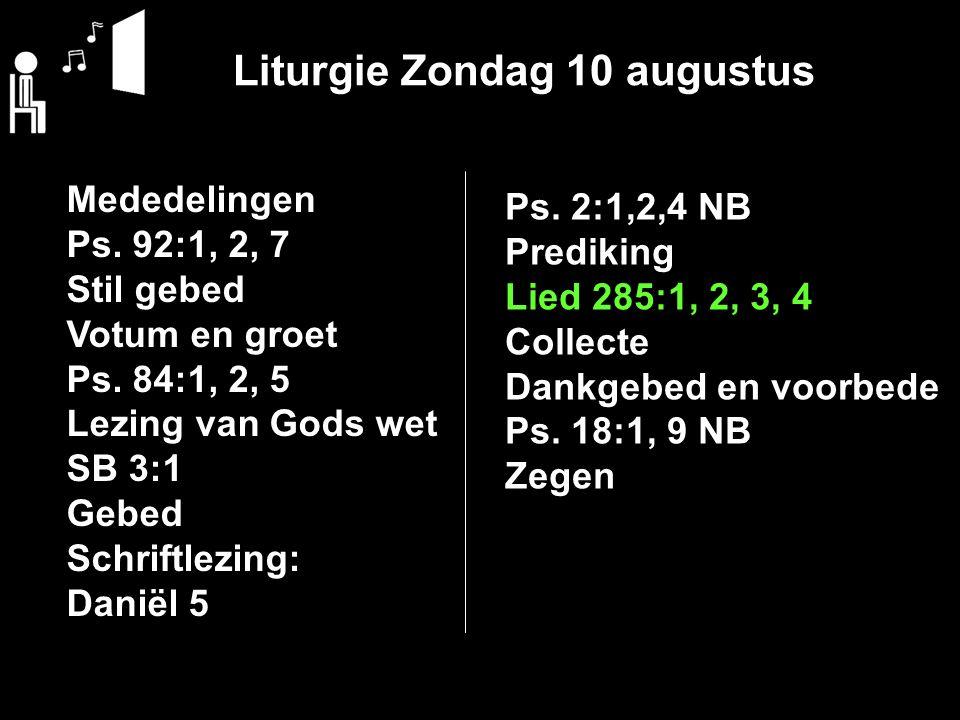 Liturgie Zondag 10 augustus