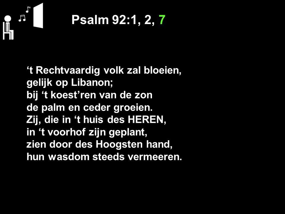 Psalm 92:1, 2, 7 't Rechtvaardig volk zal bloeien, gelijk op Libanon;