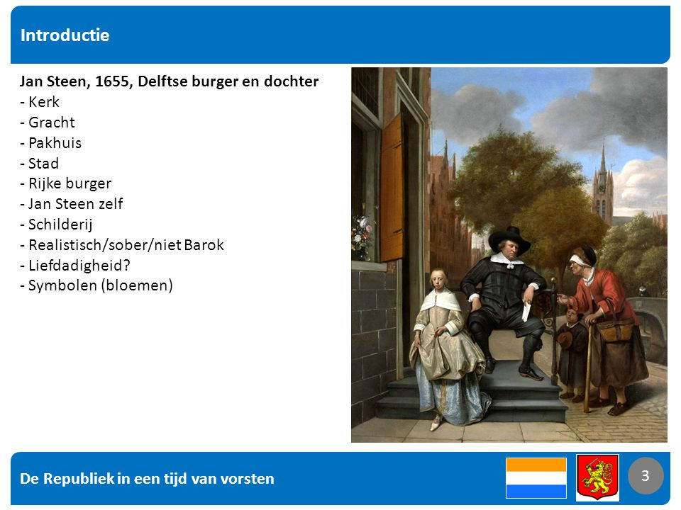 Introductie Jan Steen, 1655, Delftse burger en dochter Kerk Gracht