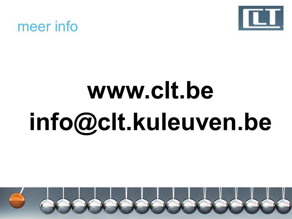 www.clt.be info@clt.kuleuven.be