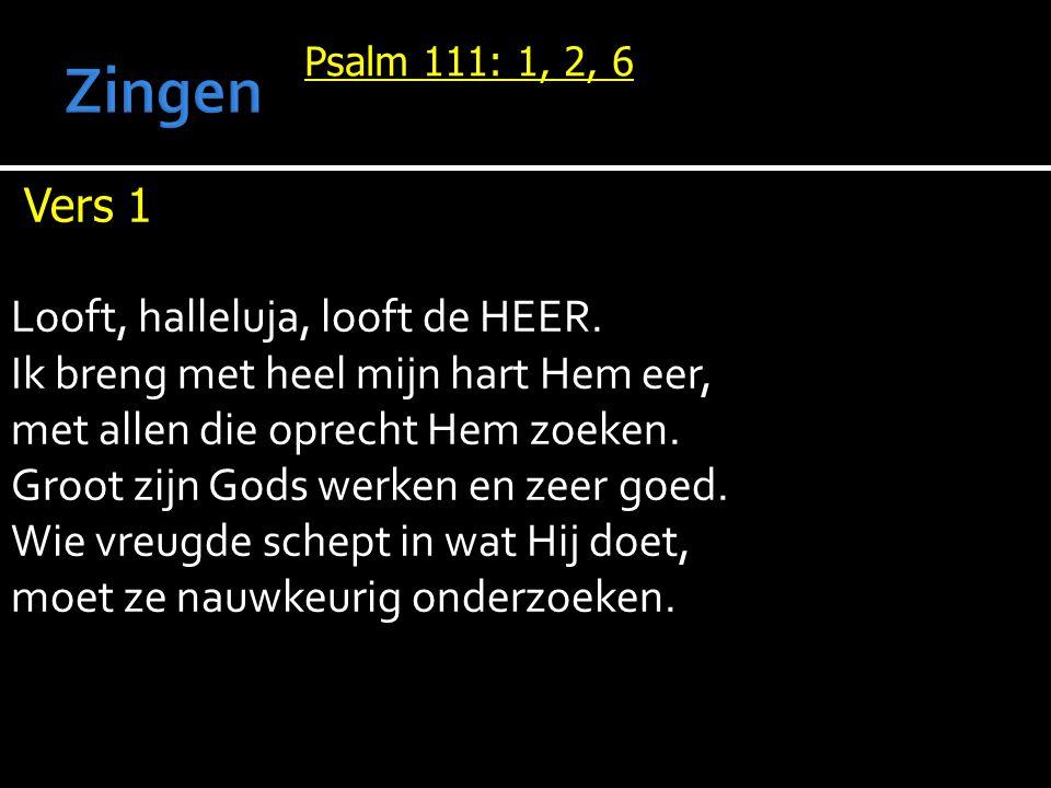 Zingen Vers 1 Looft, halleluja, looft de HEER.