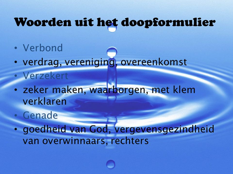 Woorden uit het doopformulier