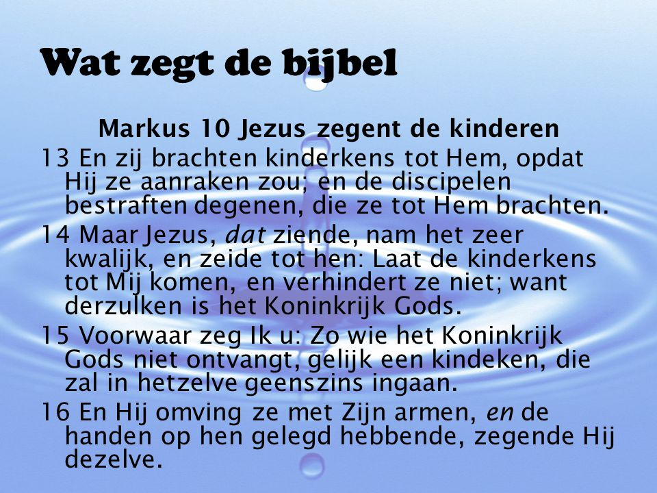 Markus 10 Jezus zegent de kinderen