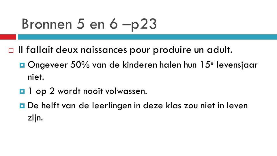 Bronnen 5 en 6 –p23 Il fallait deux naissances pour produire un adult.