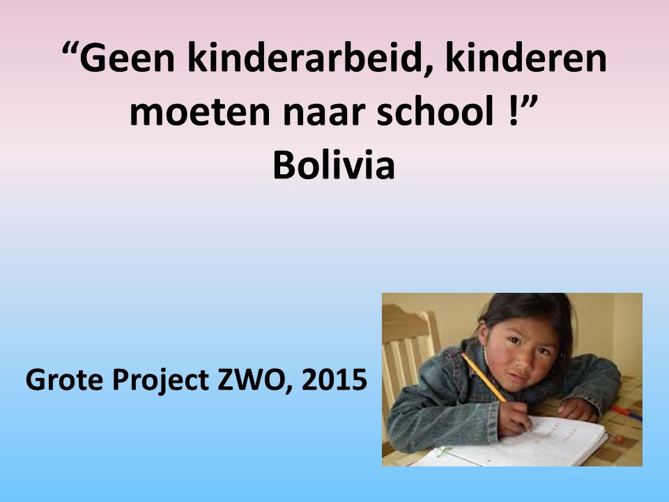 Geen kinderarbeid, kinderen moeten naar school ! Bolivia