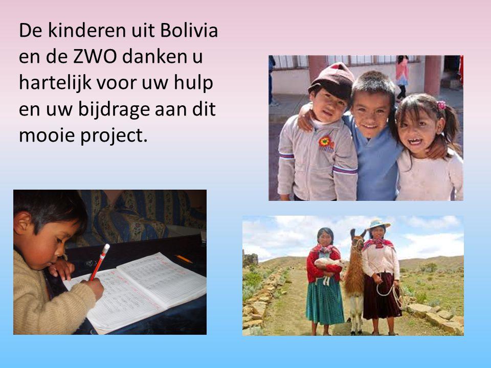 De kinderen uit Bolivia en de ZWO danken u hartelijk voor uw hulp en uw bijdrage aan dit mooie project.
