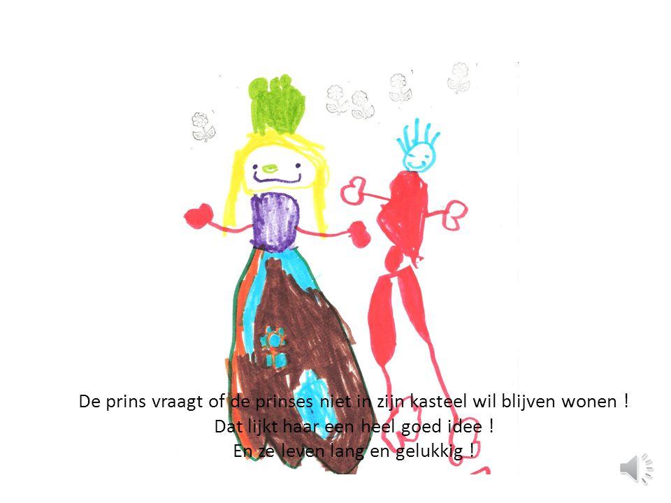 De prins vraagt of de prinses niet in zijn kasteel wil blijven wonen