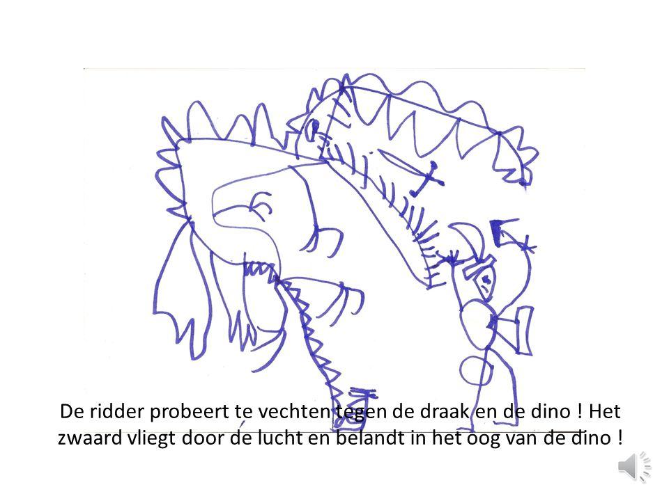 De ridder probeert te vechten tegen de draak en de dino