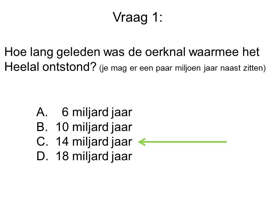 Vraag 1: Hoe lang geleden was de oerknal waarmee het Heelal ontstond (je mag er een paar miljoen jaar naast zitten)