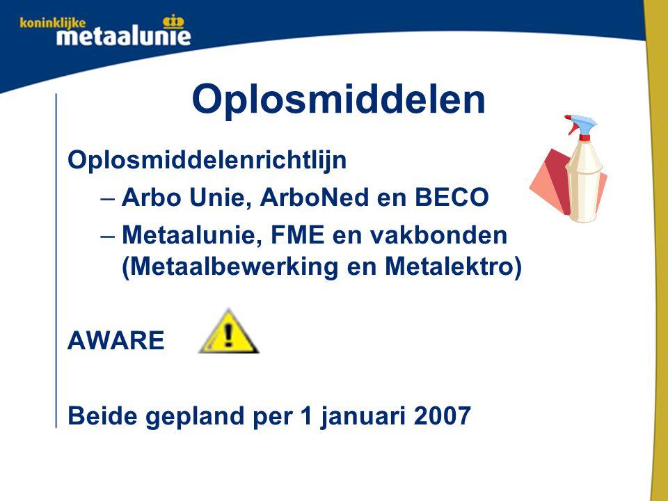 Oplosmiddelen Oplosmiddelenrichtlijn Arbo Unie, ArboNed en BECO