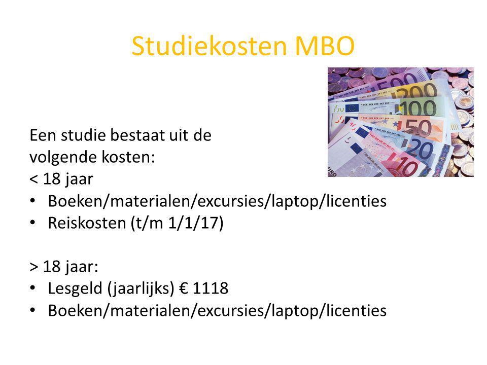 Studiekosten MBO Een studie bestaat uit de volgende kosten:
