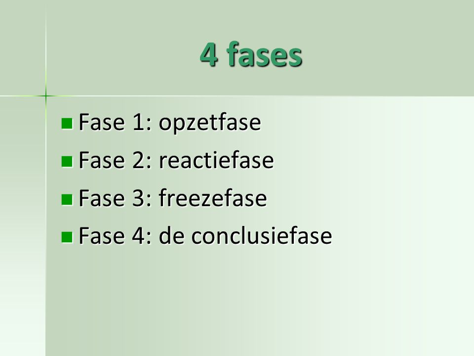 4 fases Fase 1: opzetfase Fase 2: reactiefase Fase 3: freezefase