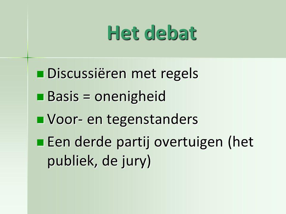 Het debat Discussiëren met regels Basis = onenigheid