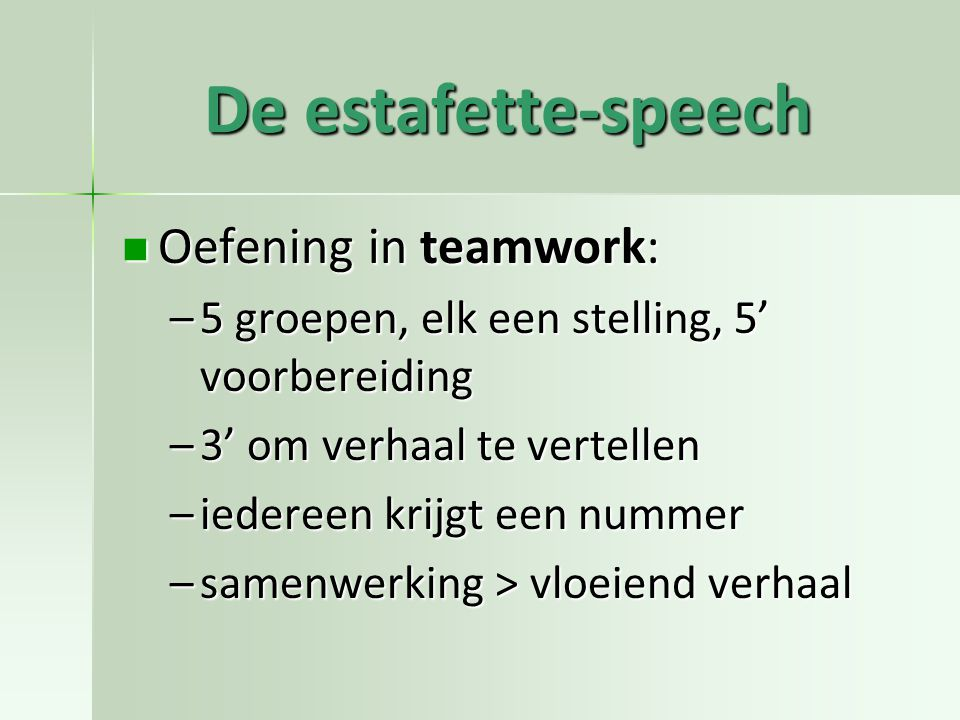 De estafette-speech Oefening in teamwork: