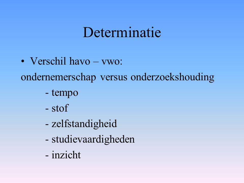 Determinatie Verschil havo – vwo: