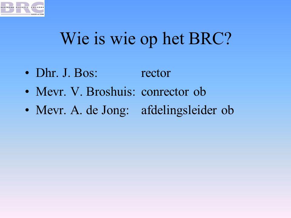 Wie is wie op het BRC Dhr. J. Bos: rector