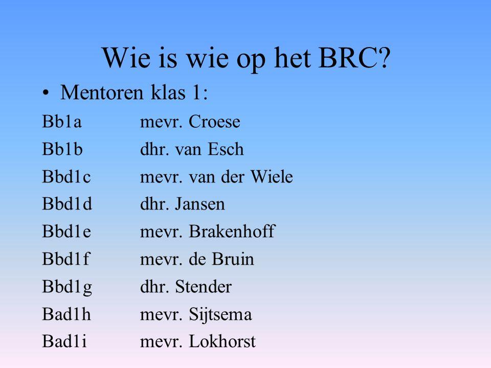Wie is wie op het BRC Mentoren klas 1: Bb1a mevr. Croese