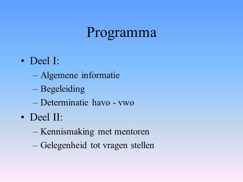 Programma Deel I: Deel II: Algemene informatie Begeleiding