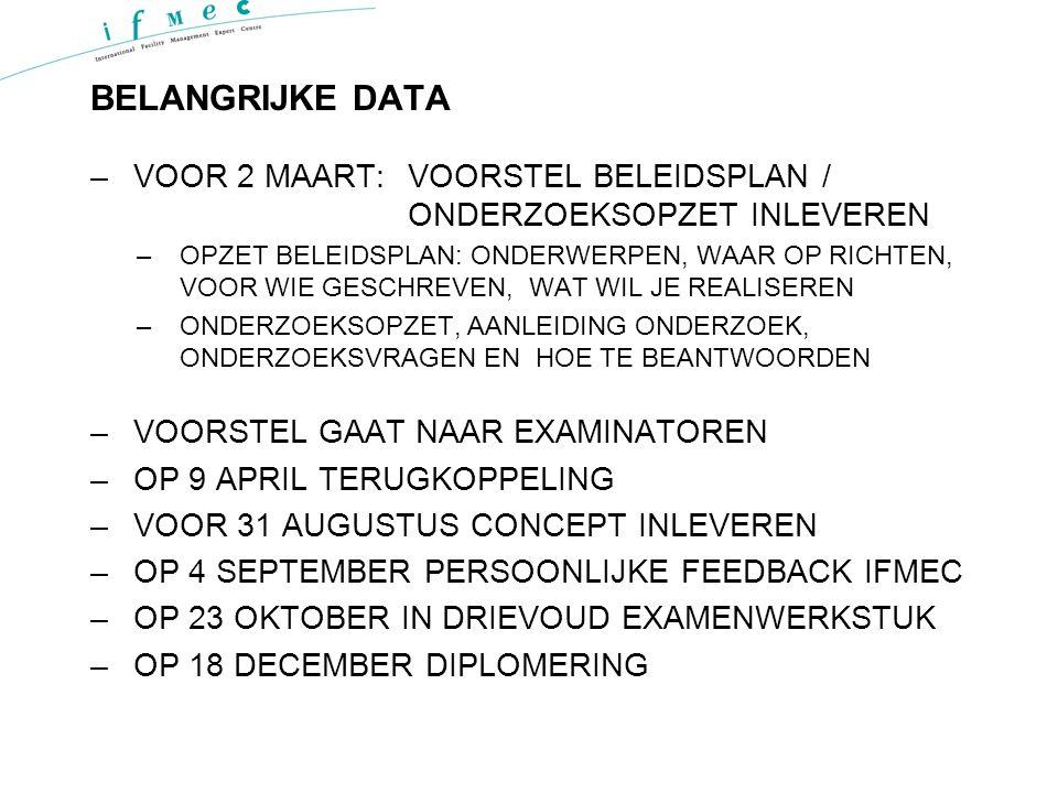 BELANGRIJKE DATA VOOR 2 MAART: VOORSTEL BELEIDSPLAN / ONDERZOEKSOPZET INLEVEREN.