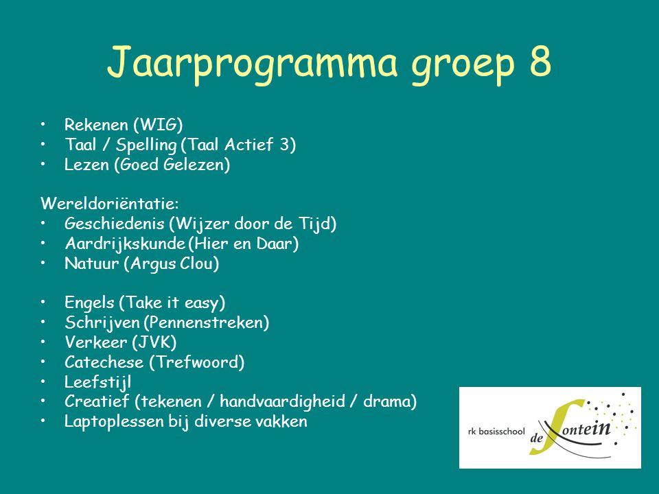 Jaarprogramma groep 8 Rekenen (WIG) Taal / Spelling (Taal Actief 3)