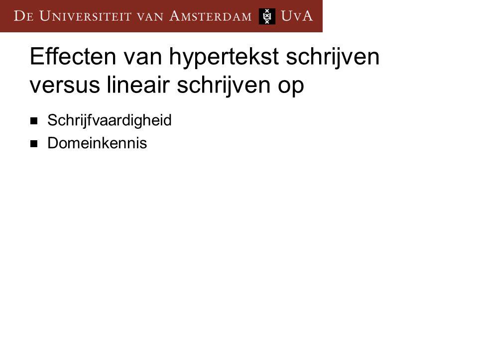 Effecten van hypertekst schrijven versus lineair schrijven op