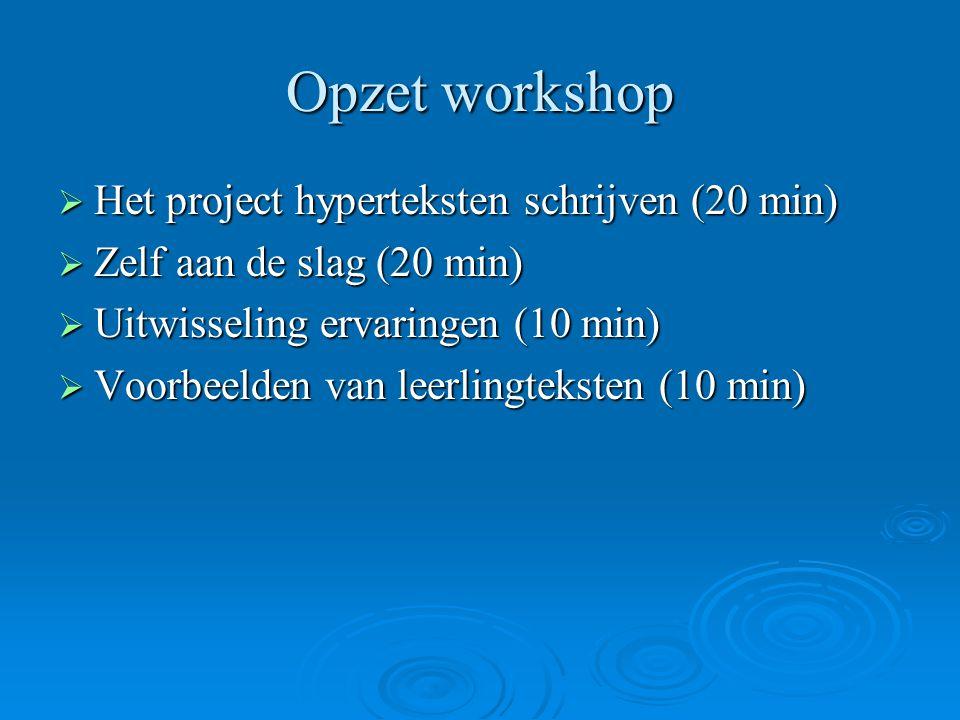 Opzet workshop Het project hyperteksten schrijven (20 min)