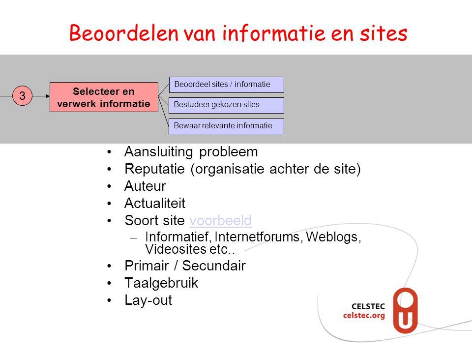 Beoordelen van informatie en sites