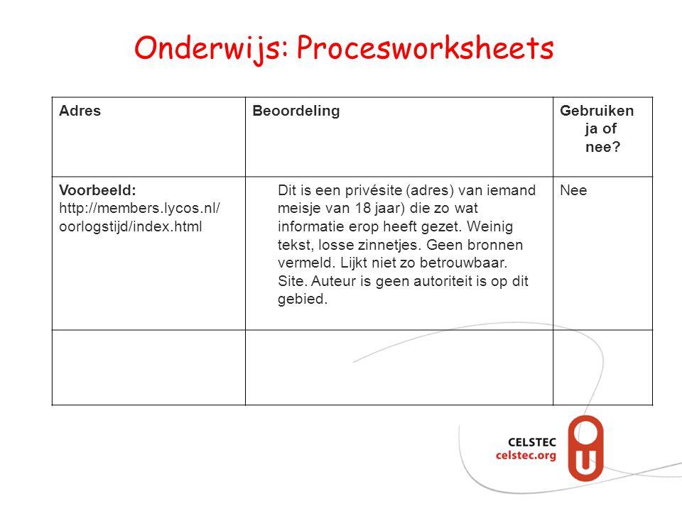 Onderwijs: Procesworksheets