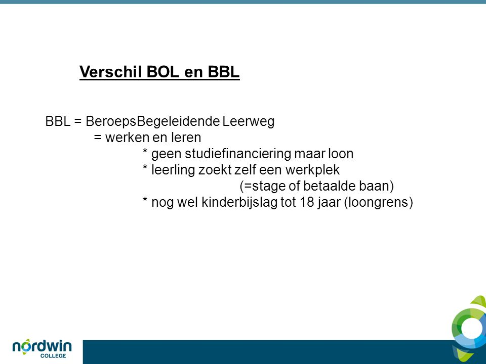 Verschil BOL en BBL BBL = BeroepsBegeleidende Leerweg