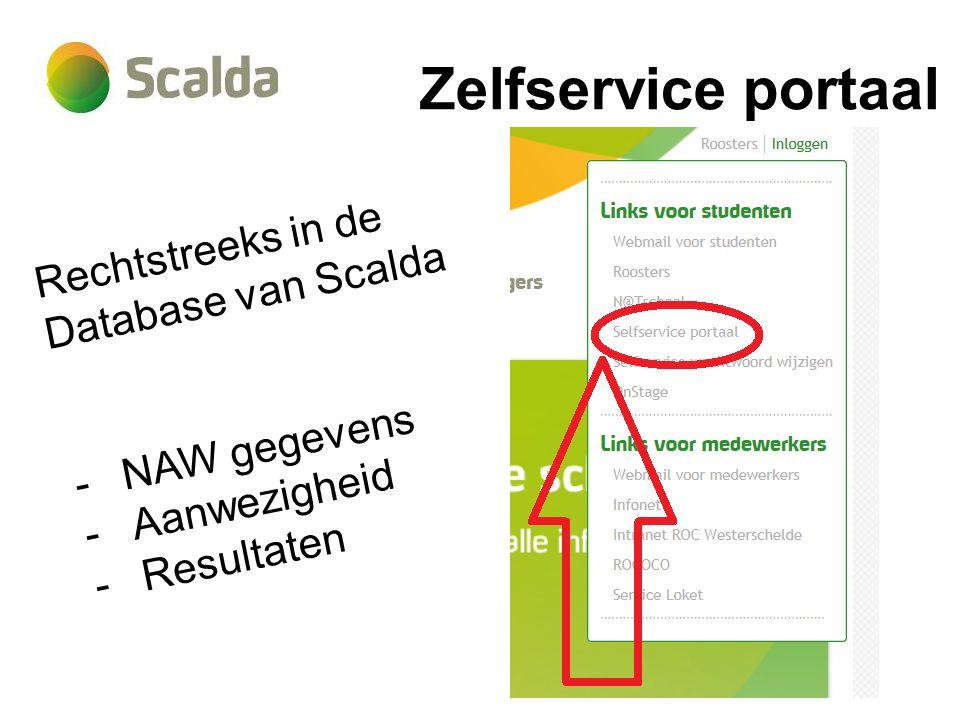 Zelfservice portaal Rechtstreeks in de Database van Scalda