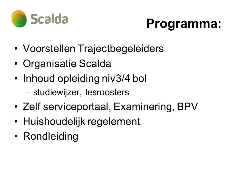 Programma: Voorstellen Trajectbegeleiders Organisatie Scalda