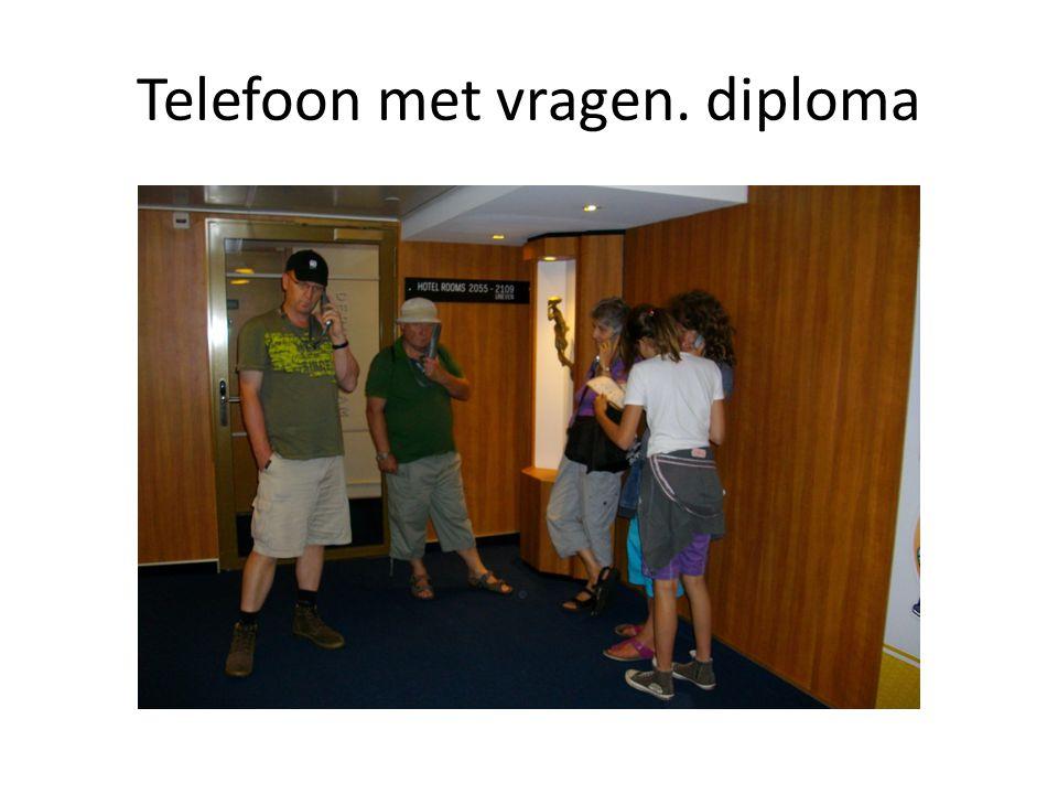 Telefoon met vragen. diploma