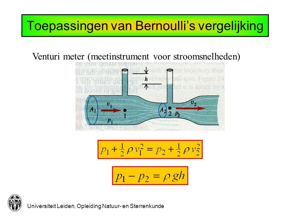 Toepassingen van Bernoulli's vergelijking