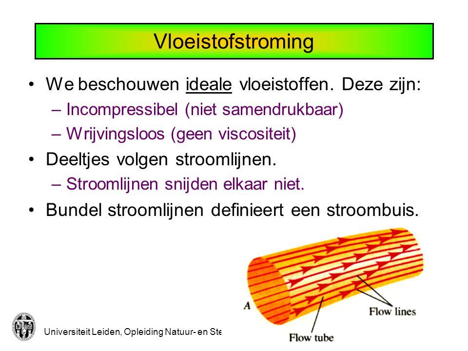 Vloeistofstroming We beschouwen ideale vloeistoffen. Deze zijn:
