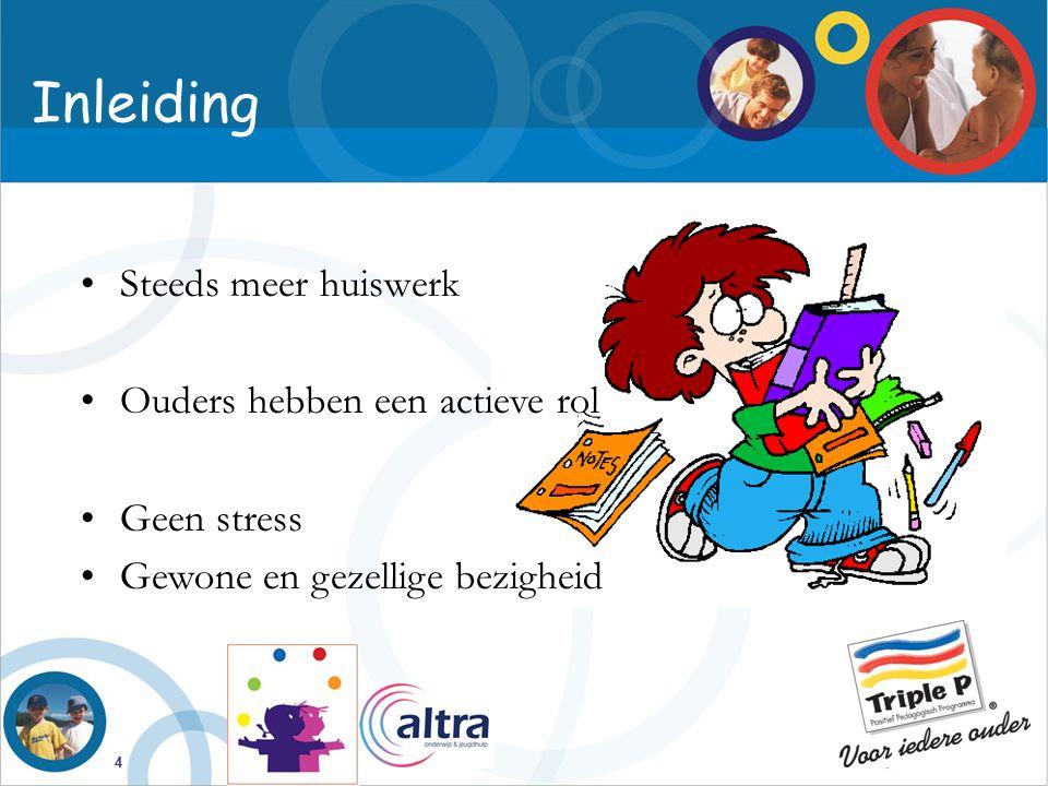Inleiding Steeds meer huiswerk Ouders hebben een actieve rol