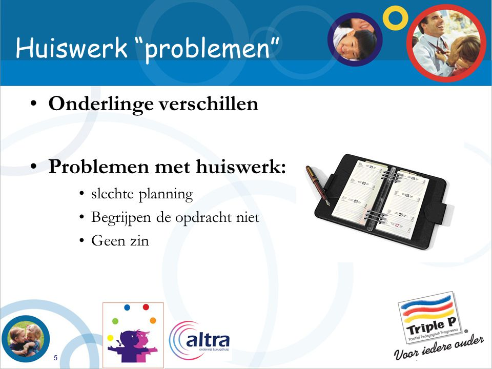 Huiswerk problemen Onderlinge verschillen Problemen met huiswerk:
