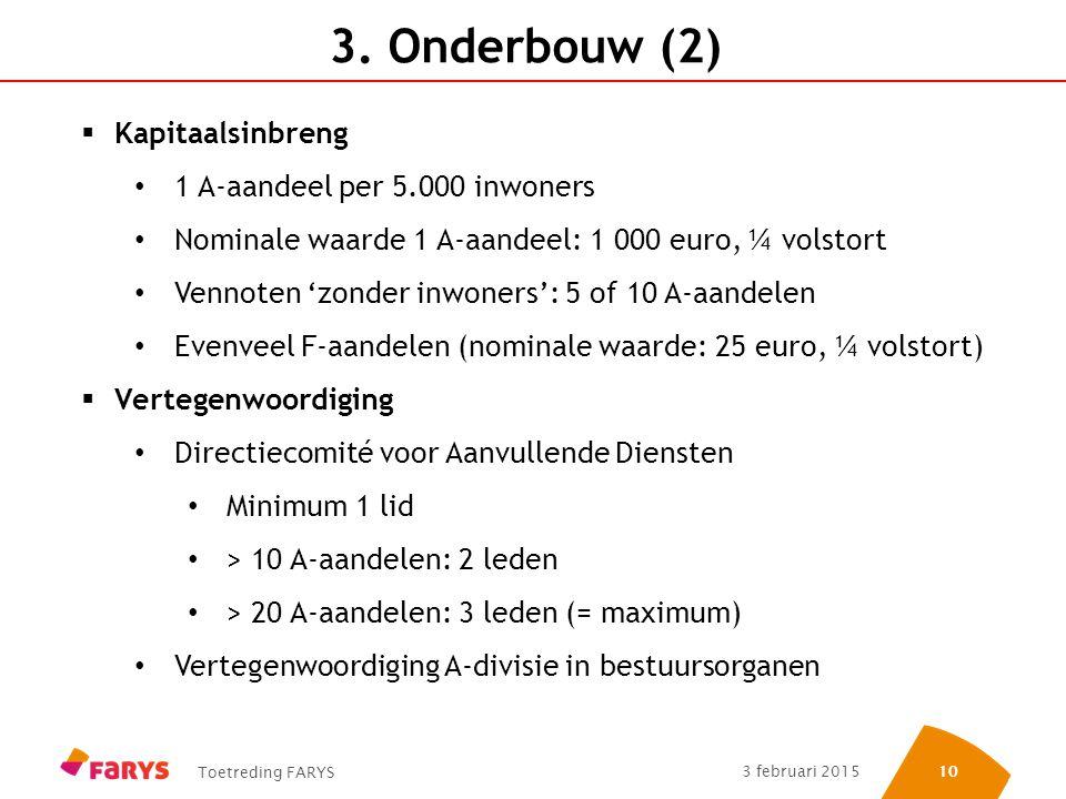 3. Onderbouw (2) Kapitaalsinbreng 1 A-aandeel per 5.000 inwoners