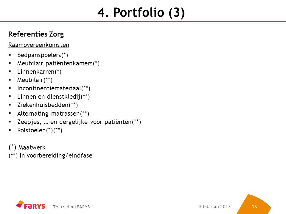 4. Portfolio (3) Referenties Zorg (*) Maatwerk Raamovereenkomsten