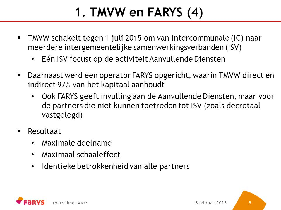 1. TMVW en FARYS (4) TMVW schakelt tegen 1 juli 2015 om van intercommunale (IC) naar meerdere intergemeentelijke samenwerkingsverbanden (ISV)