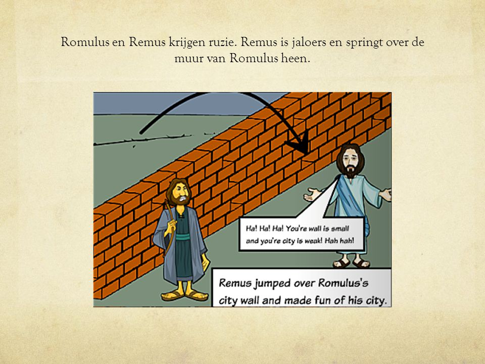 Romulus en Remus krijgen ruzie