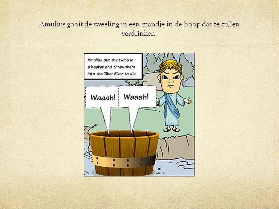 Amulius gooit de tweeling in een mandje in de hoop dat ze zullen verdrinken.