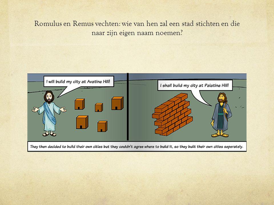 Romulus en Remus vechten: wie van hen zal een stad stichten en die naar zijn eigen naam noemen