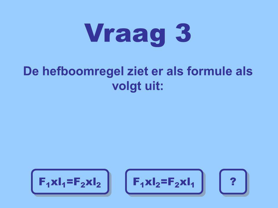 Vraag 3 De hefboomregel ziet er als formule als volgt uit:
