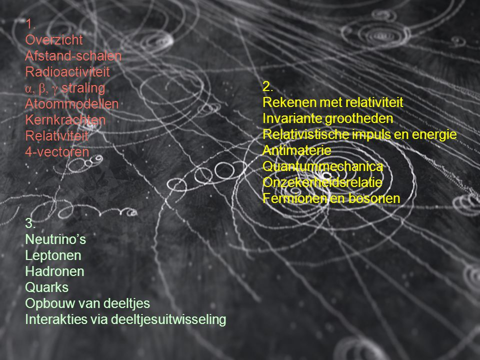 1. Overzicht. Afstand-schalen. Radioactiviteit. α, β, γ straling. Atoommodellen. Kernkrachten.